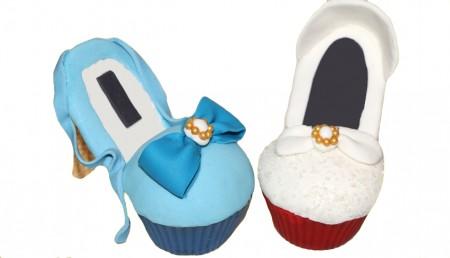 zapato blanco cupcakes