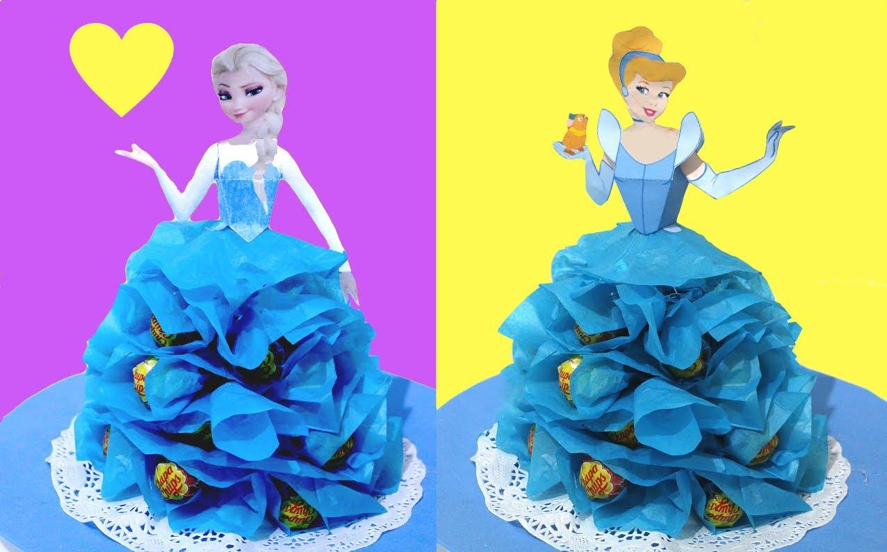 Princesas Disney con chuches DIY. Decoración de fiestas