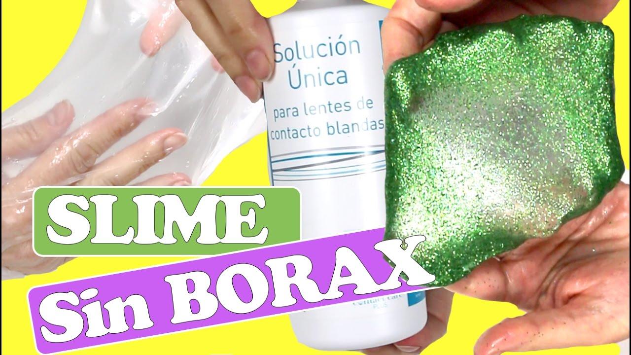 SLIME de Cristal y de espuma SIN BORAX con limpiador de lentillas o lentes de contacto